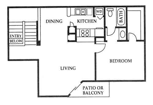 725 sq. ft. D floor plan