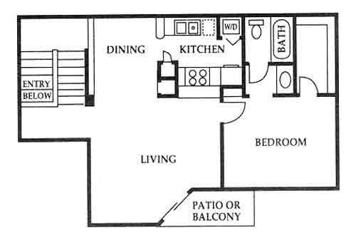 725 sq. ft. D floor plan