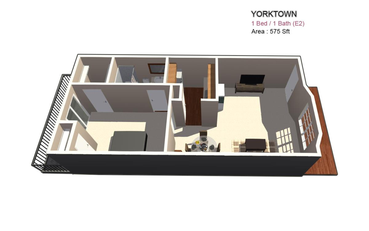 680 sq. ft. 1X1 floor plan