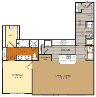 1,055 sq. ft. A9 floor plan