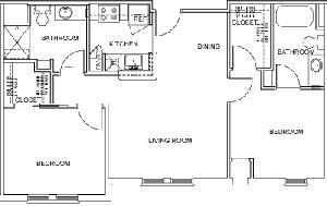 876 sq. ft. to 886 sq. ft. DOVER floor plan