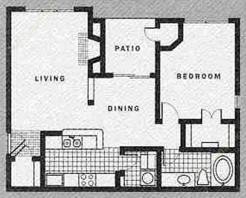 751 sq. ft. to 811 sq. ft. B-UP floor plan