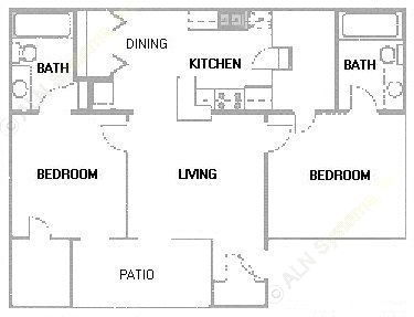 889 sq. ft. B3 floor plan