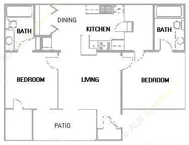 889 sq. ft. B3 floor plan