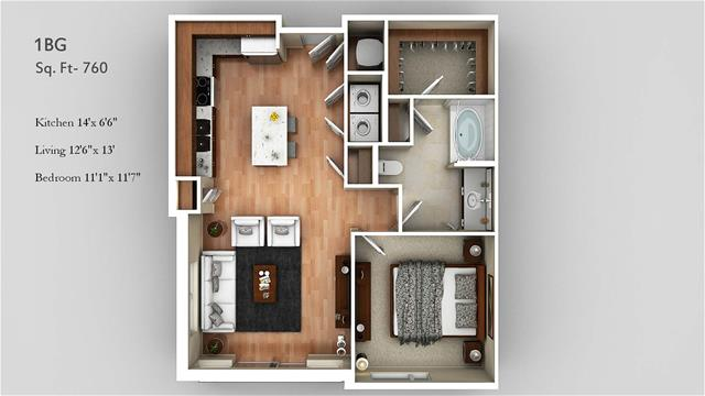760 sq. ft. 1BG floor plan
