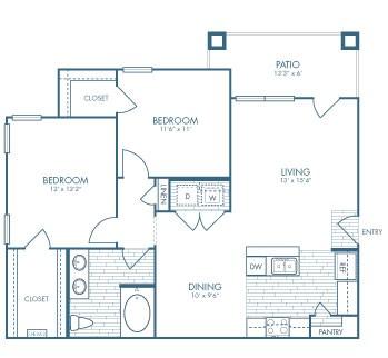 972 sq. ft. Lawman floor plan