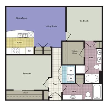 1,140 sq. ft. Calabria floor plan