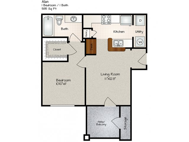 581 sq. ft. Alan floor plan