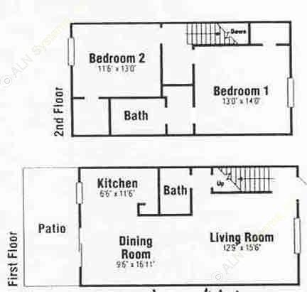 1,190 sq. ft. C1 floor plan