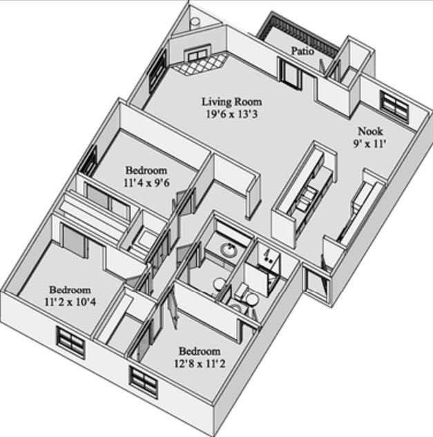 1,211 sq. ft. KIRKWOOD floor plan