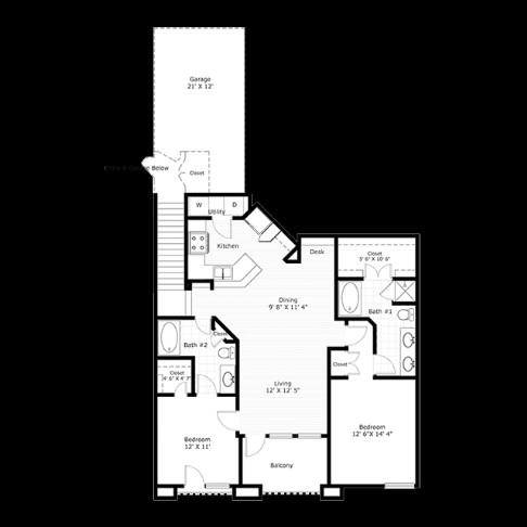 1,228 sq. ft. B5G floor plan