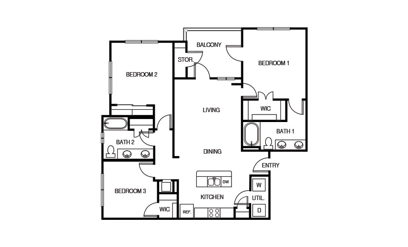 1,300 sq. ft. C1 HC floor plan