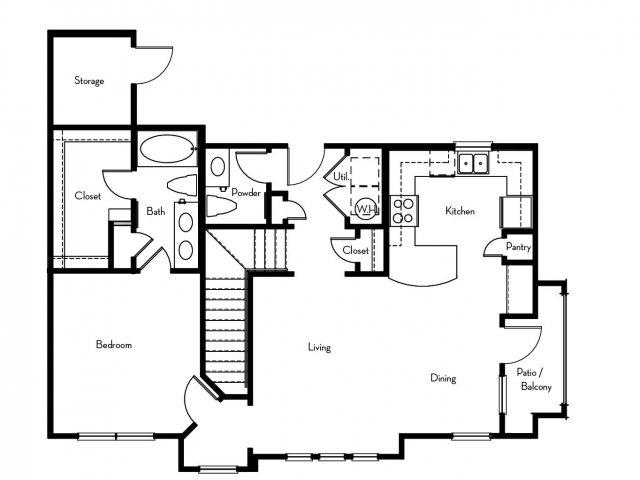 943 sq. ft. A4 floor plan