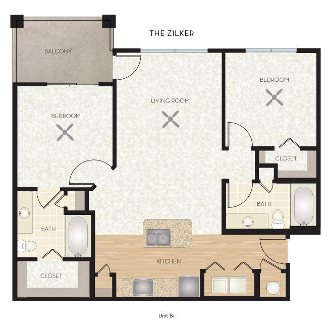 957 sq. ft. Zilker floor plan