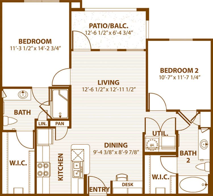 990 sq. ft. A2/60% floor plan