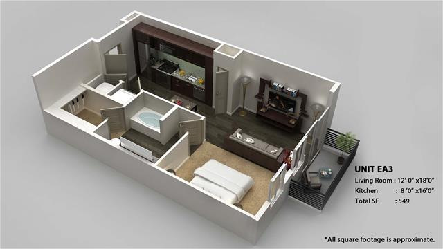 549 sq. ft. EA3 floor plan