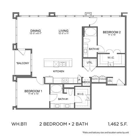 1,462 sq. ft. B11 floor plan