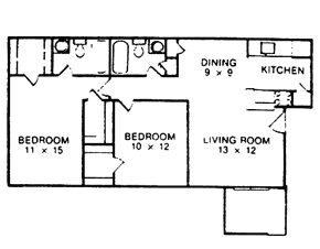 852 sq. ft. E floor plan