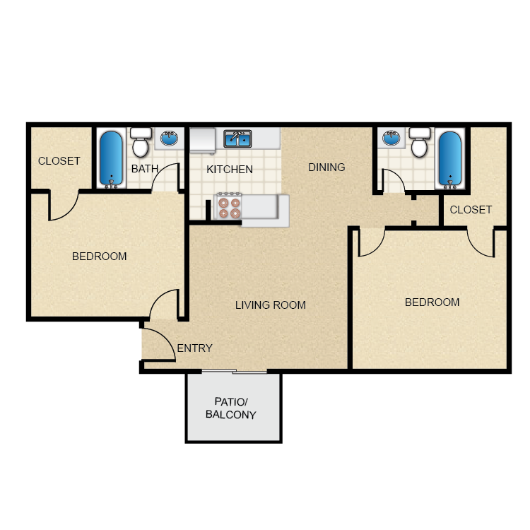 900 sq. ft. 2-2-A floor plan