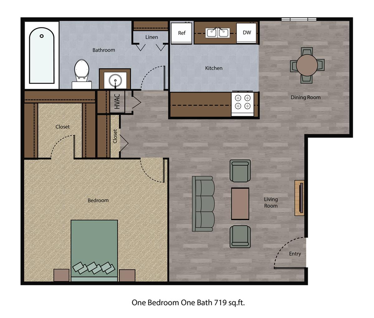 719 sq. ft. floor plan