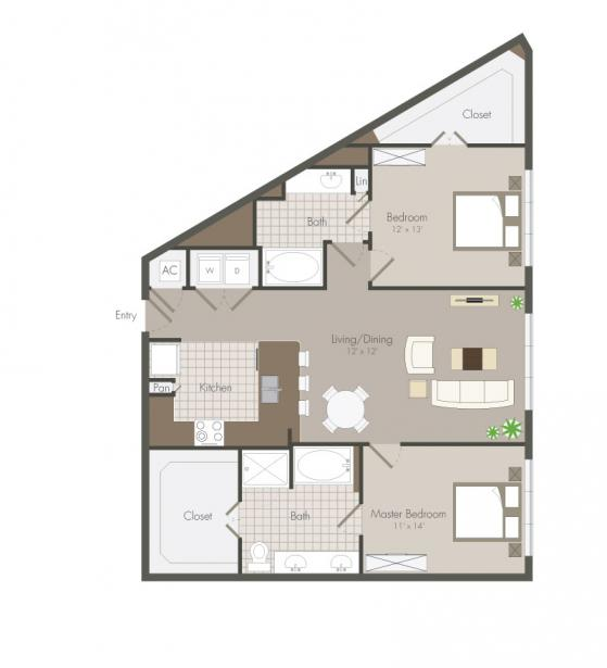 1,196 sq. ft. Minola floor plan