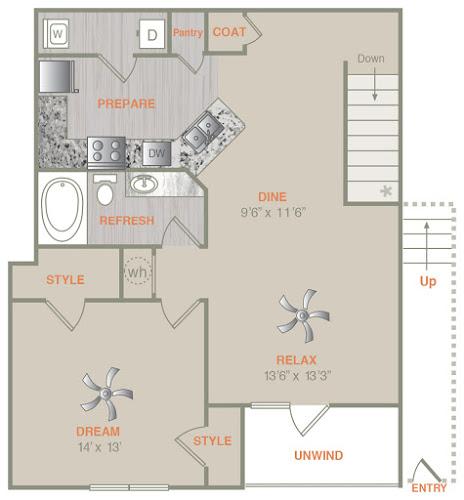 974 sq. ft. A2U floor plan