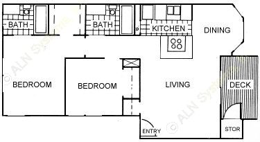 845 sq. ft. floor plan