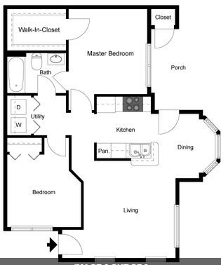 792 sq. ft. B/60% floor plan