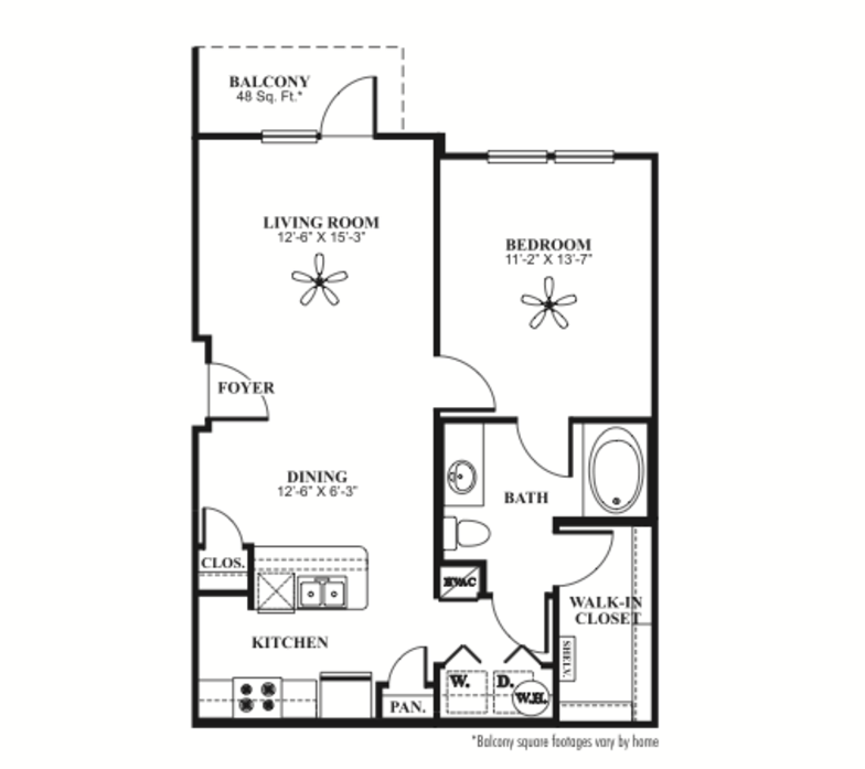 766 sq. ft. A1 floor plan