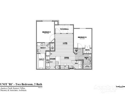 918 sq. ft. B1 30% floor plan