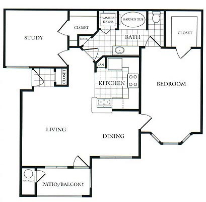 940 sq. ft. D floor plan