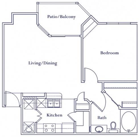655 sq. ft. A2 floor plan