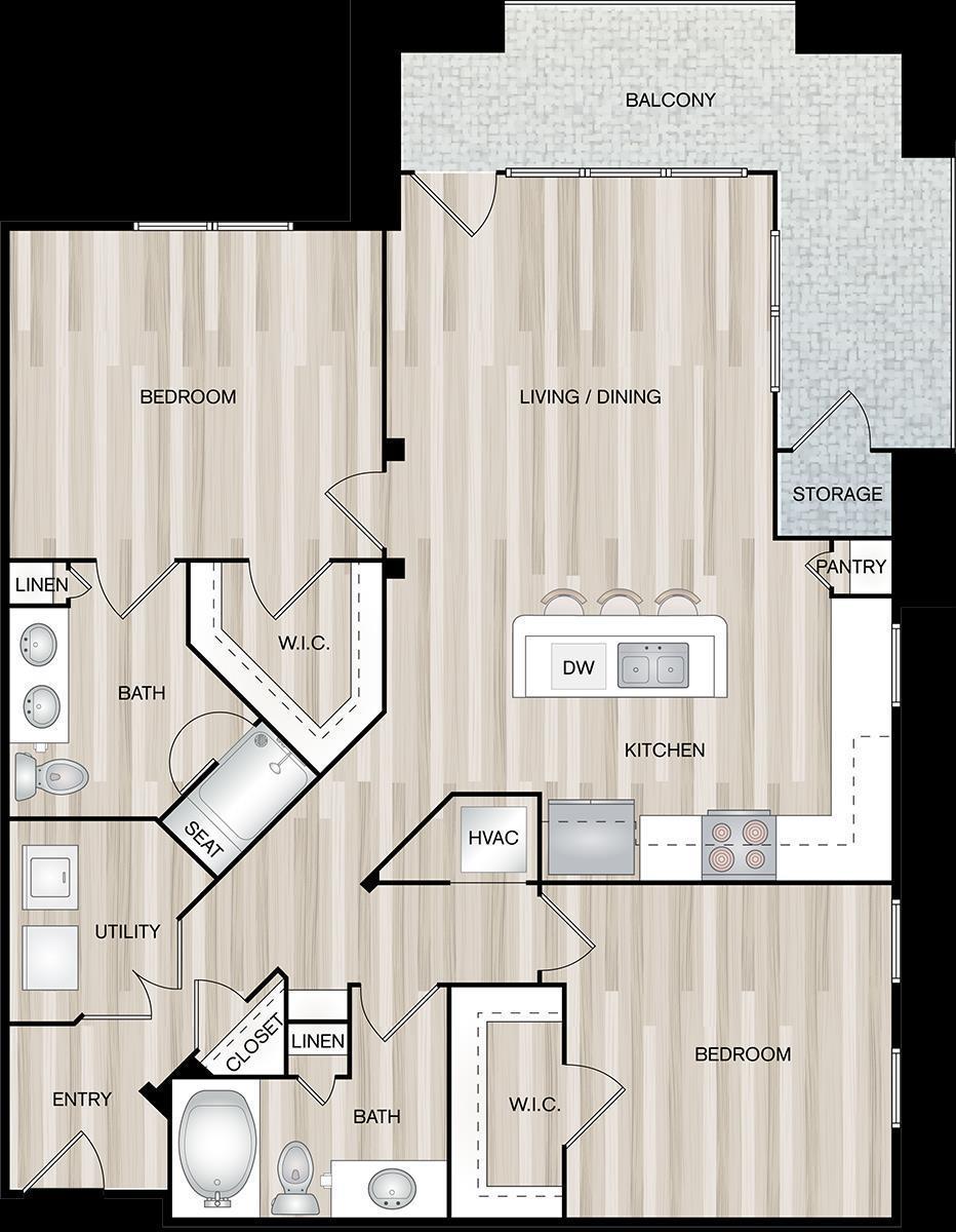 1,352 sq. ft. B3-Yacht floor plan