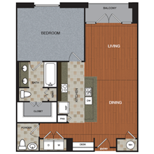 1,095 sq. ft. A9 floor plan
