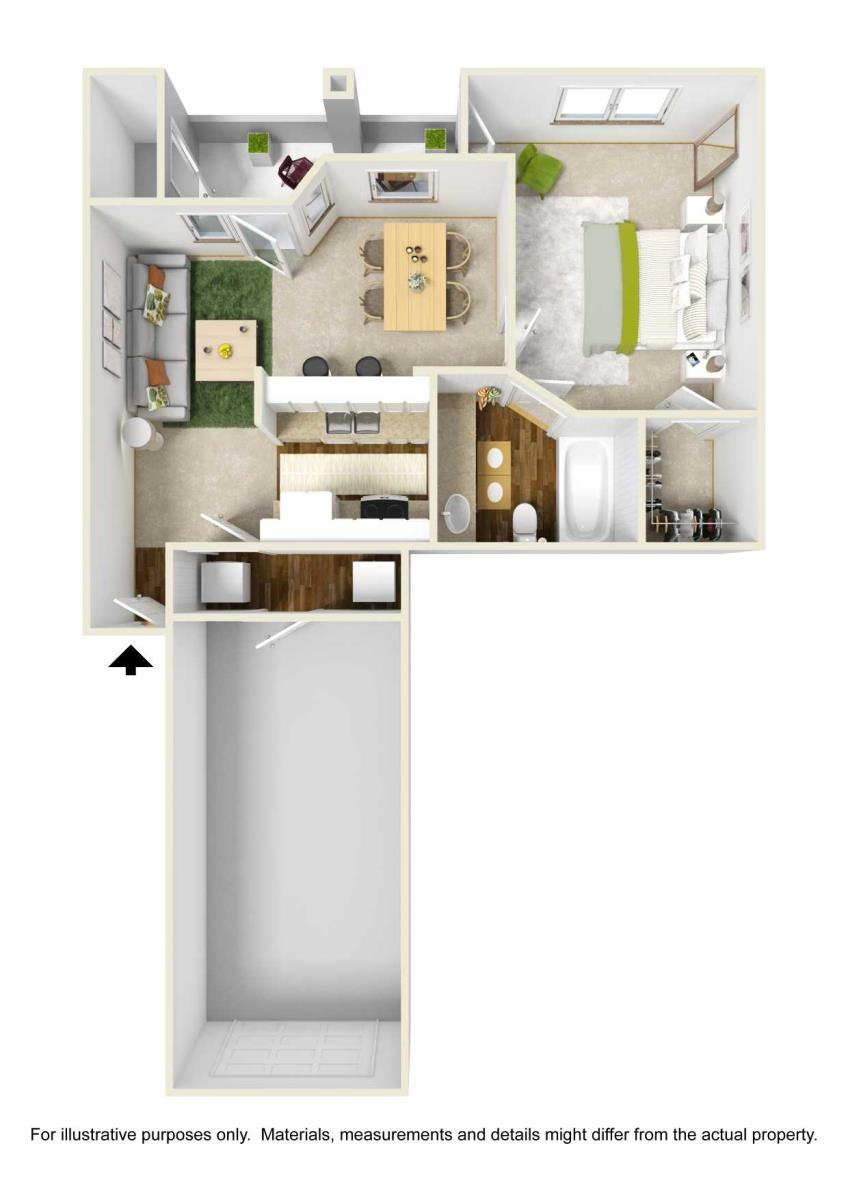 681 sq. ft. A2 floor plan