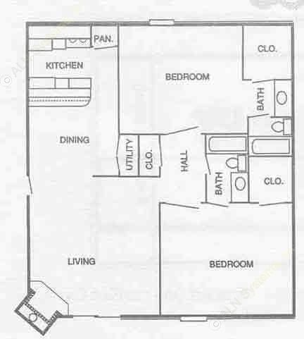 930 sq. ft. 2B1 floor plan