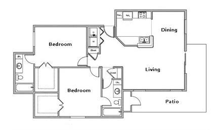 1,043 sq. ft. E1 floor plan