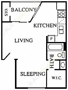 398 sq. ft. Hamlet floor plan