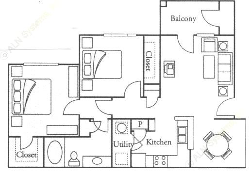 874 sq. ft. Willow floor plan