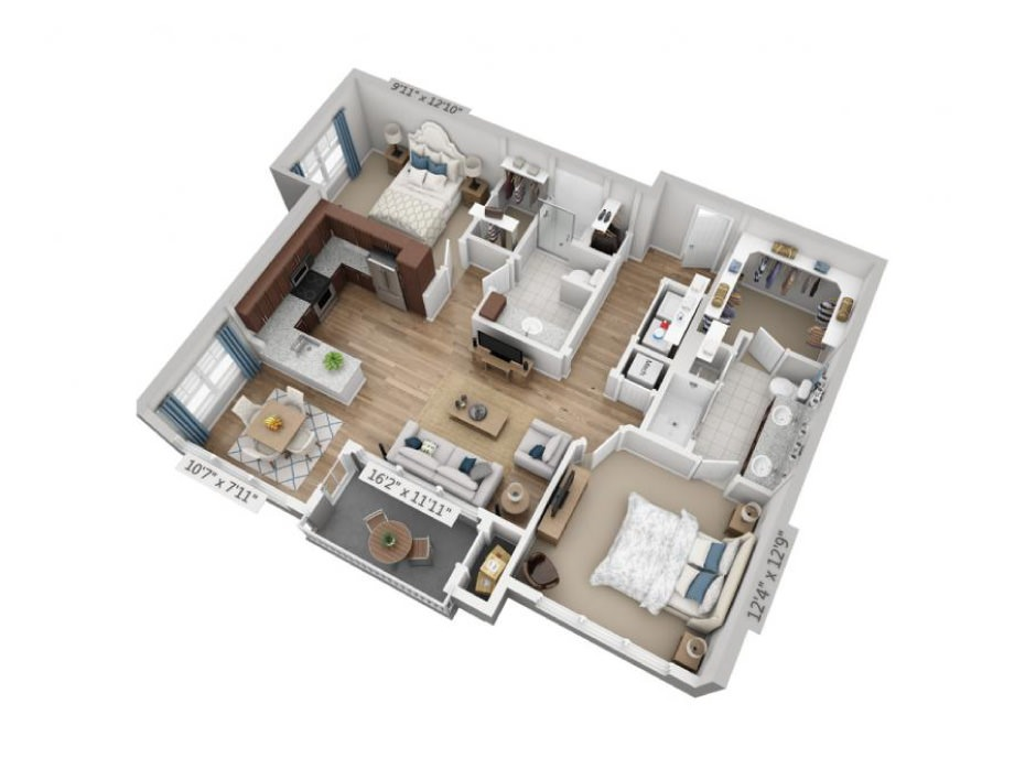 1,120 sq. ft. B2F floor plan