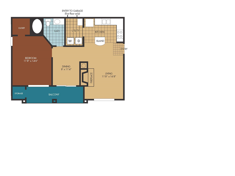 740 sq. ft. Mimosa floor plan