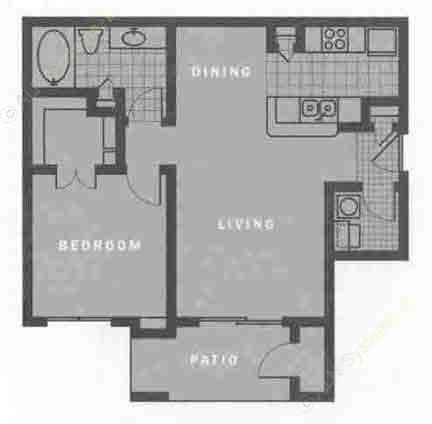 734 sq. ft. A1 floor plan