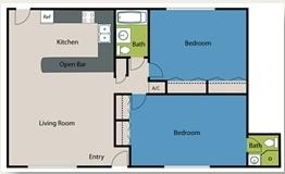 870 sq. ft. B2 floor plan
