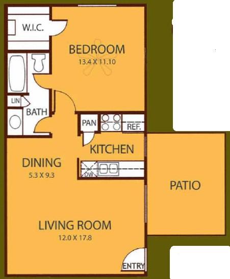 650 sq. ft. CEDAR floor plan