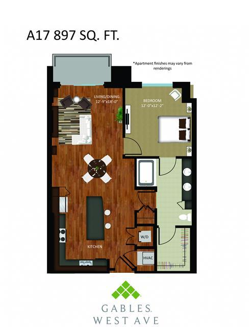 897 sq. ft. DA17 floor plan