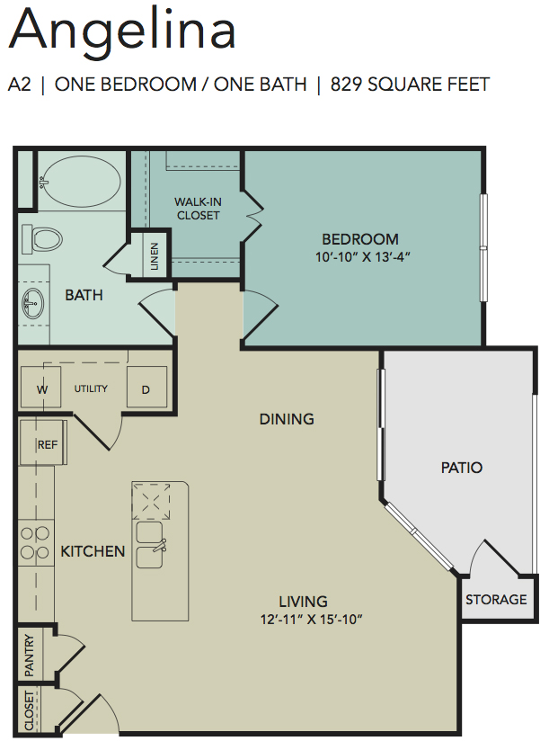 829 sq. ft. Angelina floor plan
