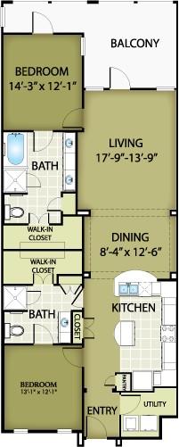 1,406 sq. ft. LOUIS floor plan