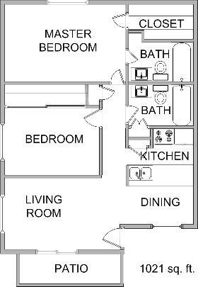 1,021 sq. ft. floor plan
