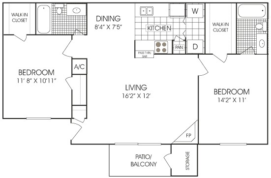 932 sq. ft. floor plan