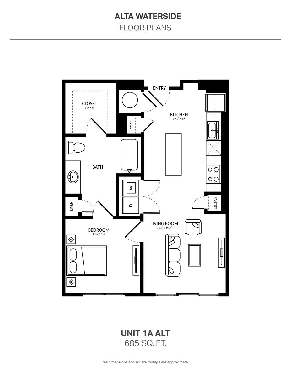 685 sq. ft. 1A Alt floor plan